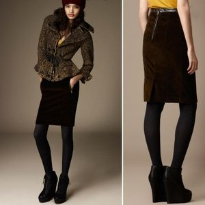 Burberry Brit | Leather Trim Corduroy Pencil Skirt
